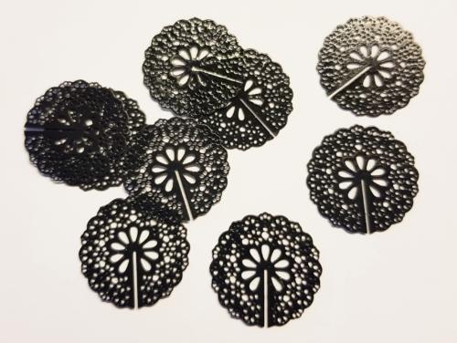 Letali bedel gestyleerde bloem rond 19mm zwart