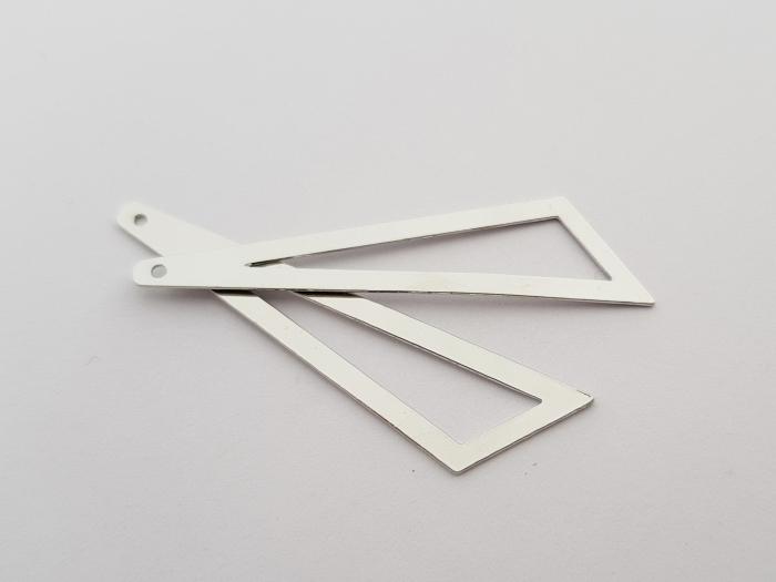 Bedel asymmertrische driehoek 45x38x13mm rodium