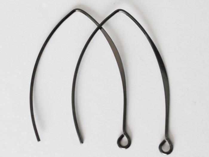 Letali oorhaken ellips 37mm mat zwart