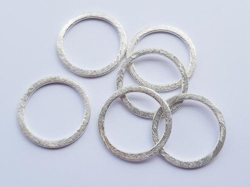 Cirkel tussenstuk zilver geborsteld 20mm