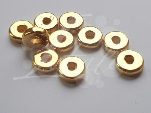 Letali Ronde platte keramiek kraal goud 8x2mm_2