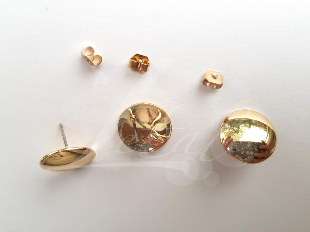Letali oorhaken steker 15mm met oogje goud glad