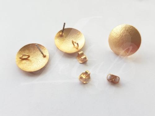 Letali oorhaken steker 15mm met oogje mat goud