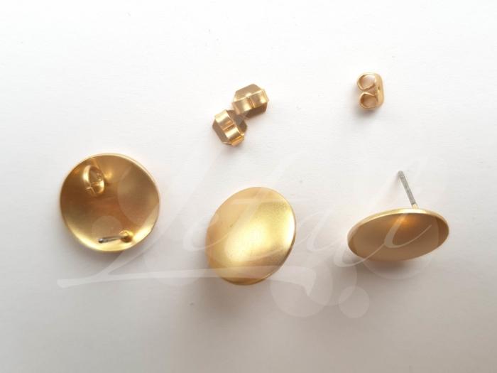 Letali oorhaken steker 15mm met oogje mat goud glad
