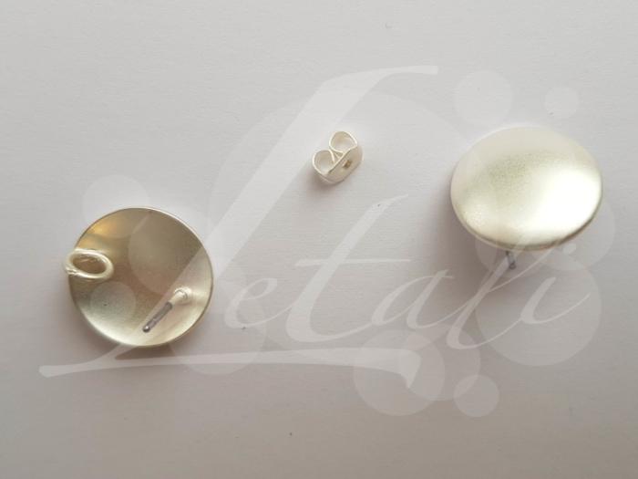 Letali oorhaken steker 15mm met oogje mat zilver glad
