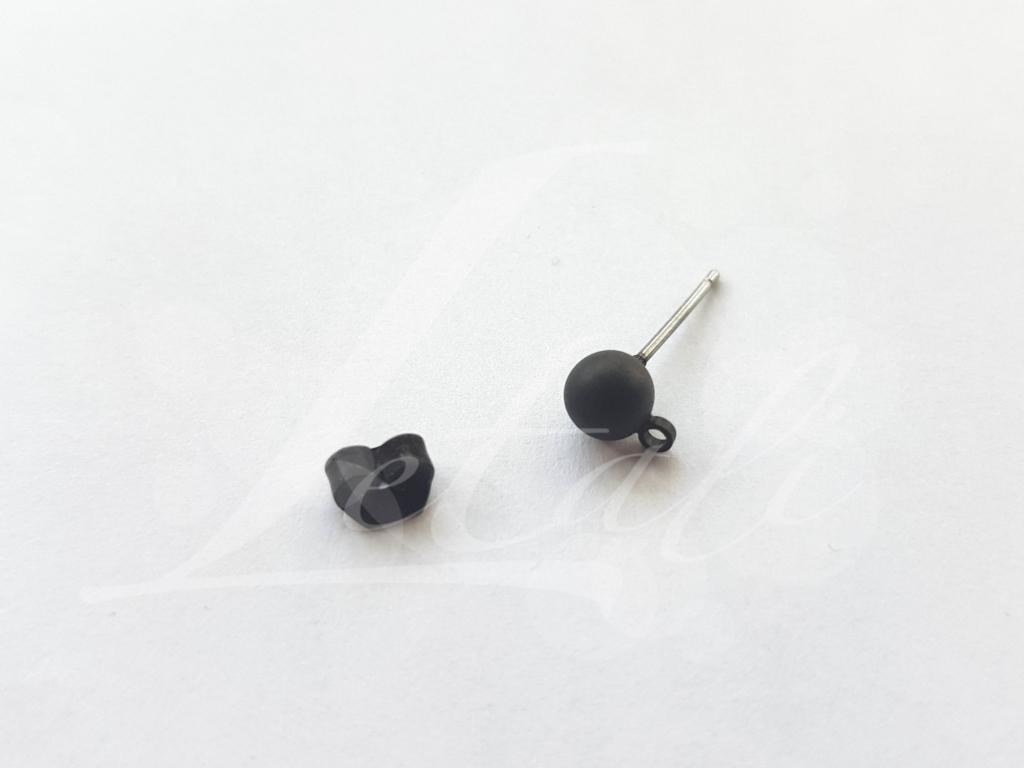Letali oorhaken steker met bolletje 5mm mat zwart