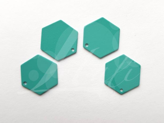Letali bedel volle zeshoek 13x12mm rubber turquoise