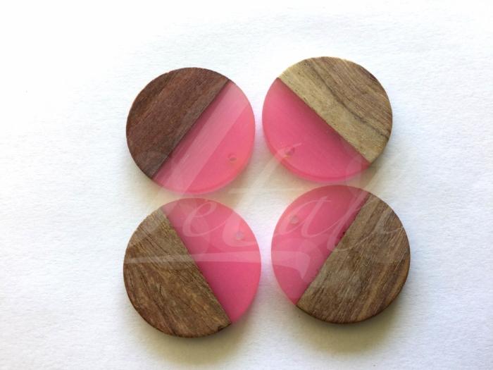 Letali hars en hout bedel rond 28x28x4mm fel roze