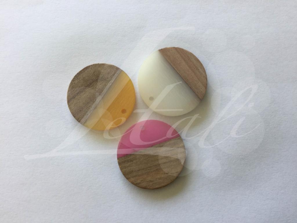 Letali hars en hout bedel rond 28x28x4mm mix