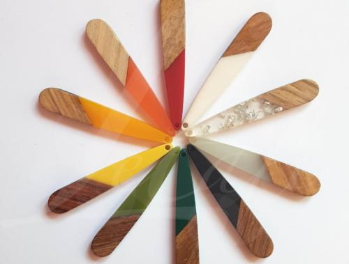 Letali hars en hout bedel lange smalle druppel 44x7x3mm regenboog