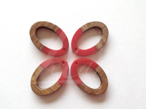 Letali bedel hout-hars open ovaal rood 28x20x3mm