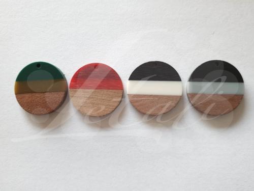 Letali hars en hout bedel rond 28x28x4mm tricolor mix