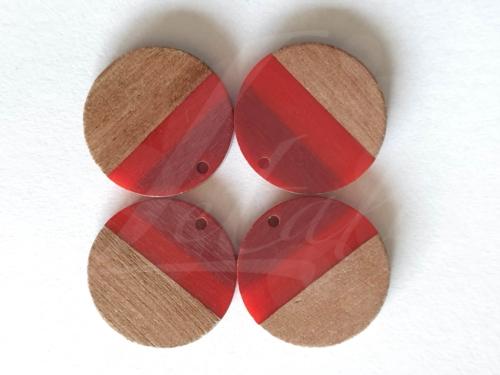 Letali hars en hout bedel rond 28x28x4mm tricolor rood
