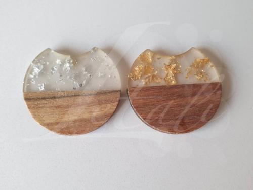 Letali hars en hout bedel rond hap uit 33x37mm goud en zilver