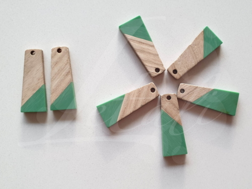 Letali hars en hout bedel trapezium zee groen 30x12x3mm