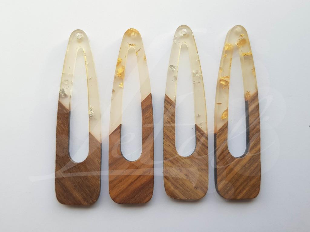 Letali bedel hout-hars open grote druppel 66x17x3mm mix
