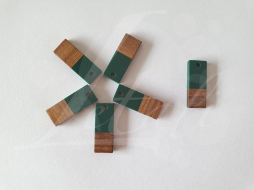 Letali hars en hout bedel kleine rechthoek 23x9mm donker groen