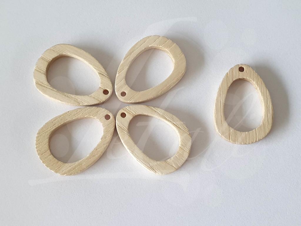 Letali houten bedel open druppel 31x22x2.5 mm_bleek hout