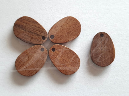 Letali houten bedel volle druppel 20x14x2.5 mm
