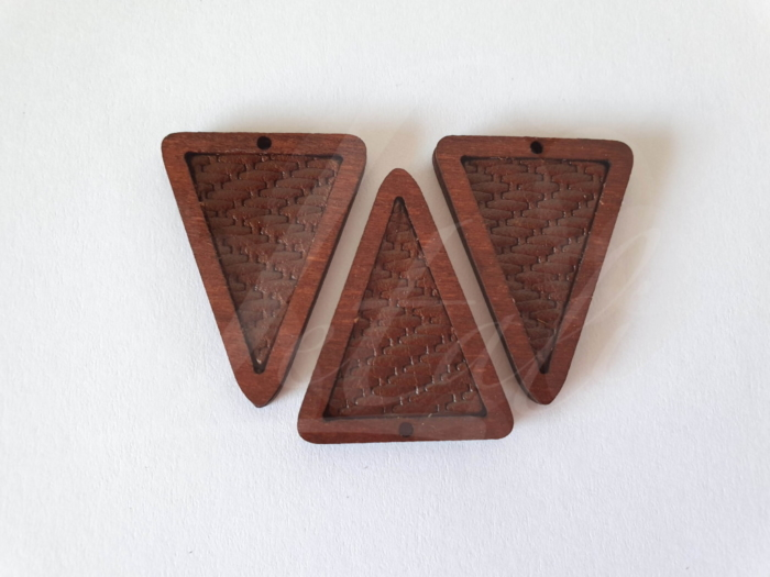 Letali bedel hout-leer_driehoek bruin geweven_35x27x4