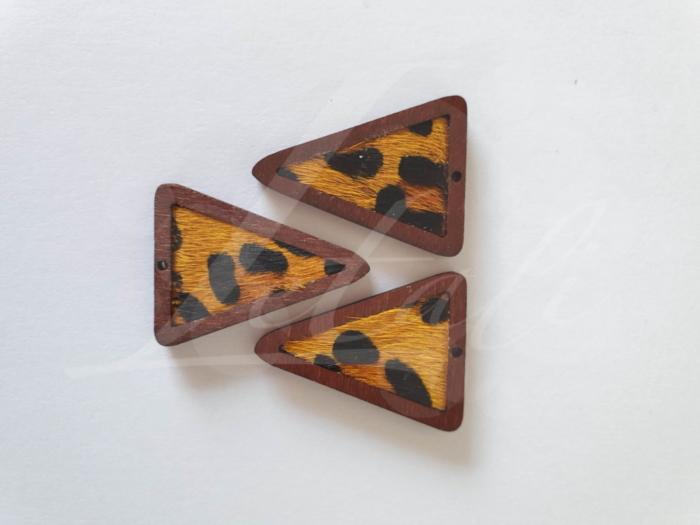 Letali bedel hout-leer_driehoek panterprint_35x27x4