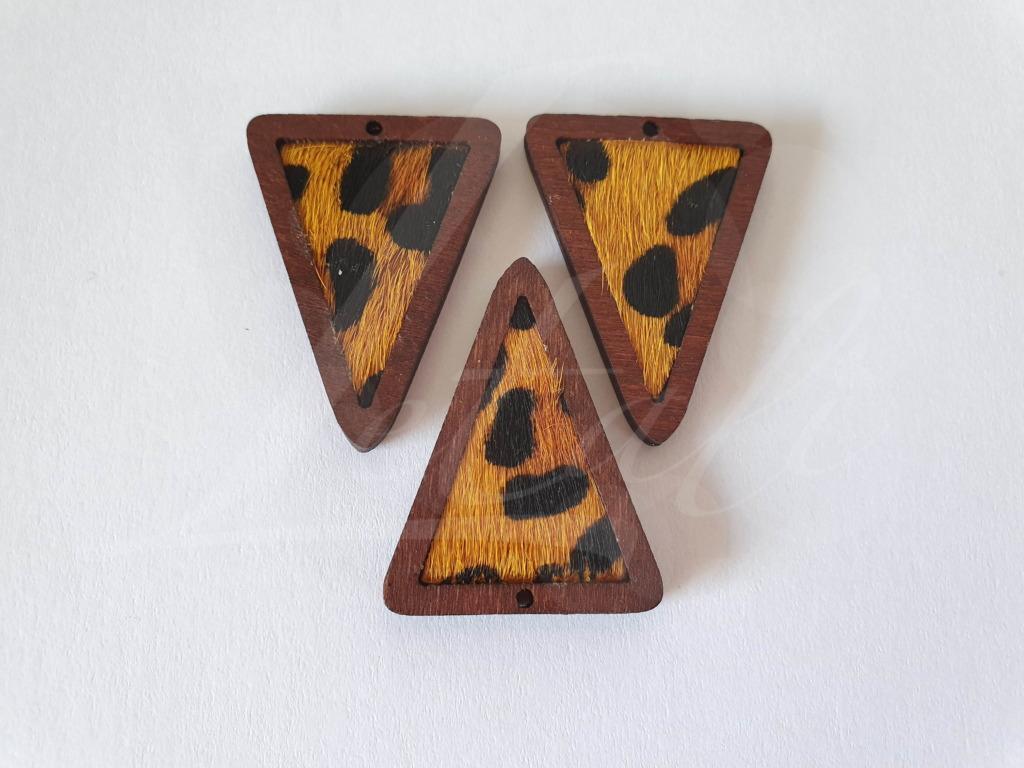 Letali bedel hout-leer_driehoek panterprint_35x27x4 _