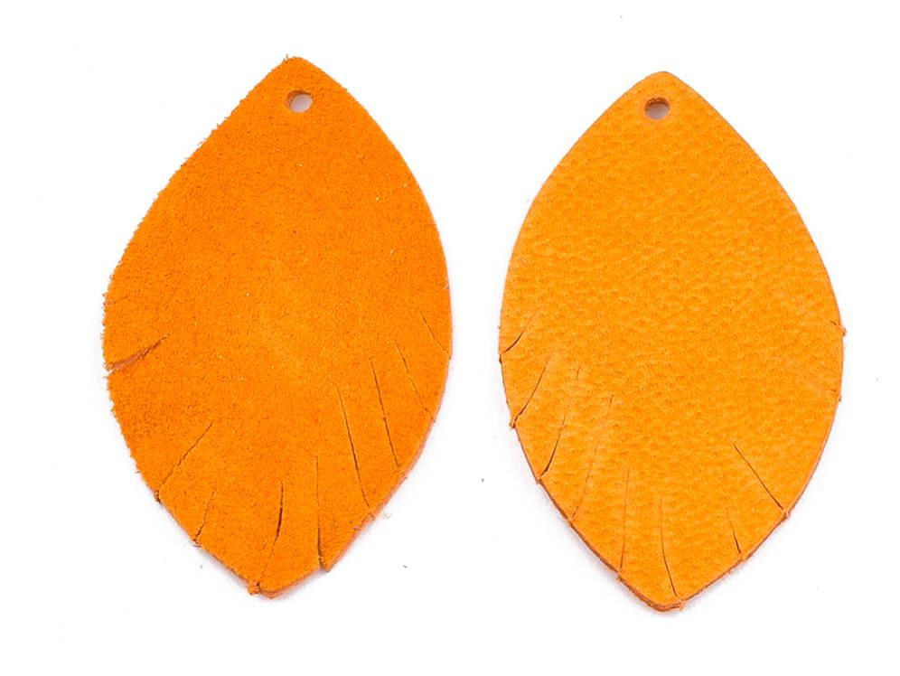Letali bedel oogvorm 38x22x1 leer geel_oranje