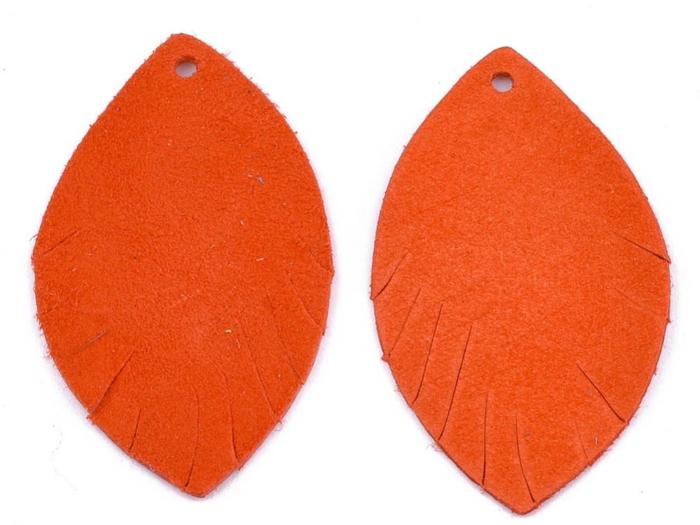 Letali bedel oogvorm 38x22x1 leer oranje_rood