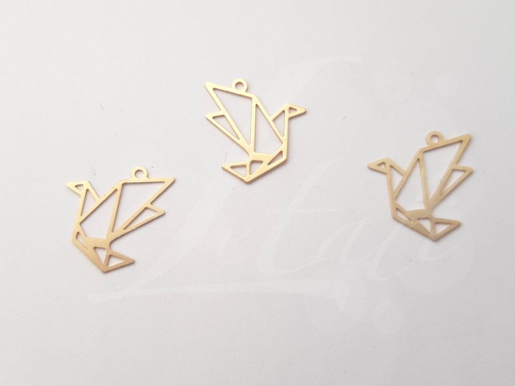 Letali origami bedel vogel 15x15mm mat goud