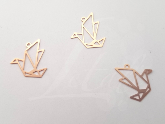 Letali origami bedel vogel 15x15mm mat rose