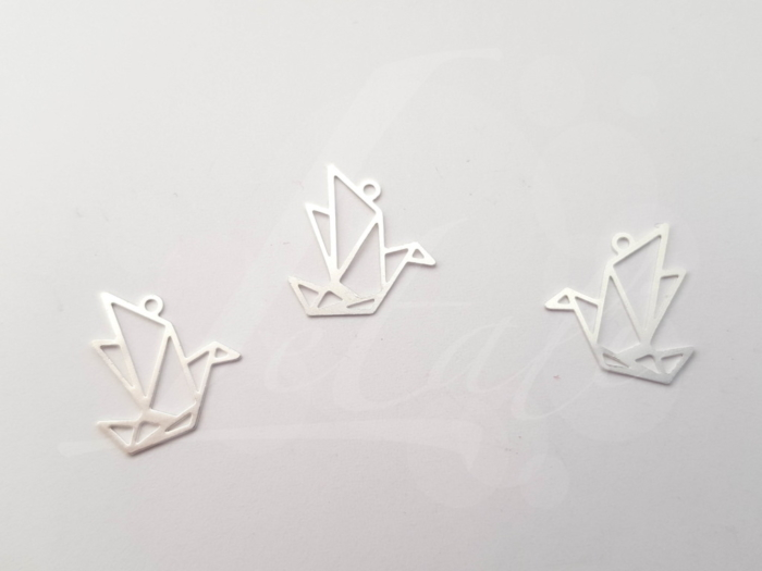 Letali origami bedel vogel 15x15mm mat zilver
