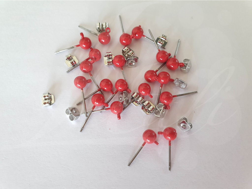 Letali oorhaken steker met bolletje 5mm fiery red op rodium