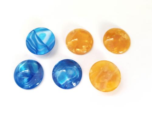Letali cabochon bol 18mm geel en blauw acryl