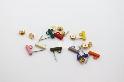 Letali Boucle d'oreille - caouchouté - barre avec anneau - 2*2*10mm
