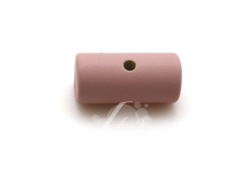Letali cilinderkraal berubberd oud roze_25x12mm